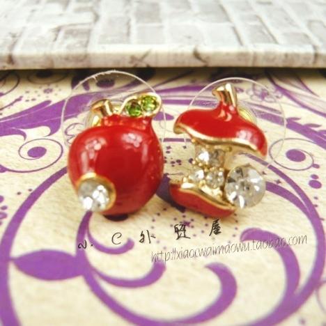 欧美 饰品/小c欧美复古外贸饰品批发个性镶钻苹果可爱耳钉